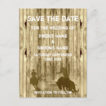 Wild west western ranch theme save the date announcement postcard