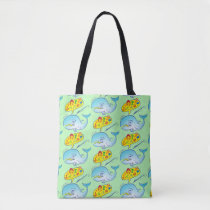 Wild whale saying bad words while fleeing harpoon tote bag