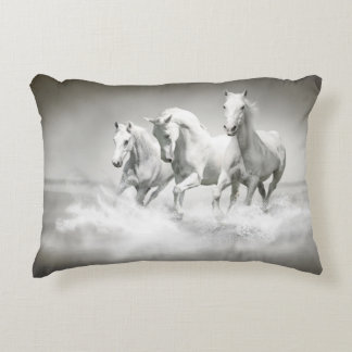 Wild White Horses Accent Pillow