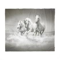 Wild White Horses Fleece Blanket