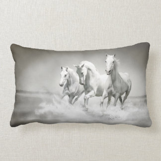 Wild White Horses Lumbar Pillow