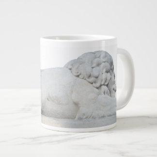 Wild White Lion Stone Statue Sculpture Photography Large Coffee Mug