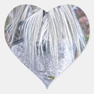 Wild White New Forest Pony Grazing on Bracken Heart Sticker