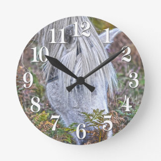 Wild White New Forest Pony Grazing on Bracken Round Clock
