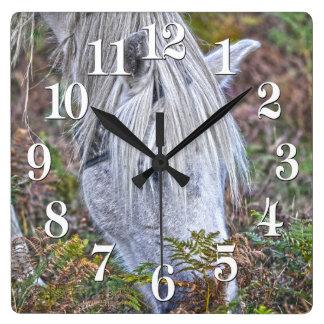 Wild White New Forest Pony Grazing on Bracken Square Wall Clock