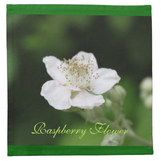 Wild white raspberry flower. cloth napkin
