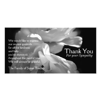 Wild White Roses 1 Sympathy Thank You Card