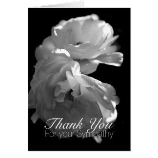 Wild White Roses -1- Sympathy Thank You Note Card