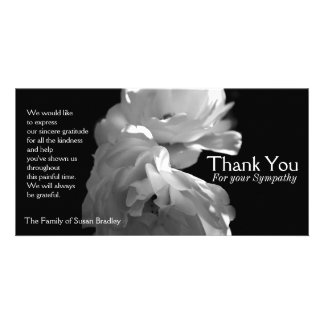 Wild White Roses 2 Sympathy Thank You Card