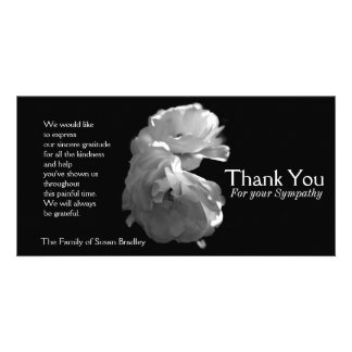 Wild White Roses 3 Sympathy Thank You Card