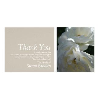 Wild White Roses 3 Sympathy Thank You Photo Card