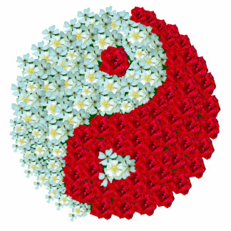 Wild White Roses and Red Roses Yin Yang symbol Cutout