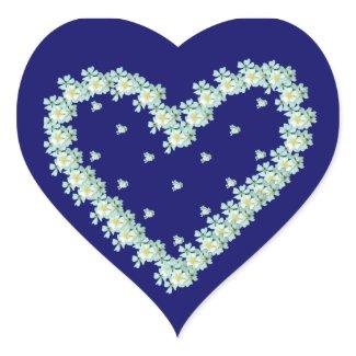 Wild White Roses Heart sticker sticker
