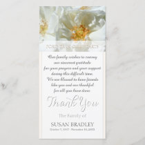 Wild White Roses Sympathy Thank you W  Photo card