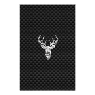 Wild White Tail Deer on Carbon Fiber Style Print Stationery