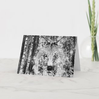 Wild Winter Wolf with Birch Trees and Snow Holiday Card
