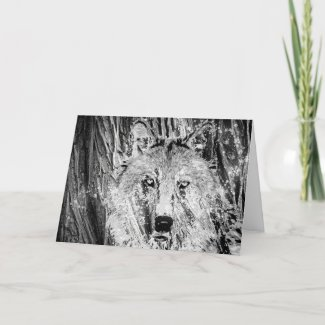 Wild Winter Wolf with Tree Bark and Snow Holiday Card