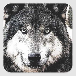 Wild Wolf Artwork Square Sticker