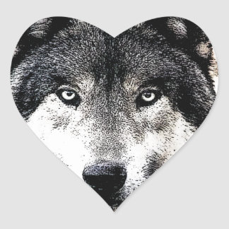 Wild Wolf Eyes Heart Sticker