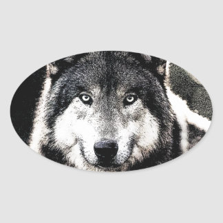 Wild Wolf Eyes Oval Sticker