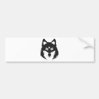 Wild Wolf Face Silhouette Bumper Sticker