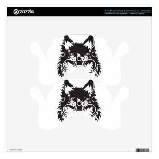 Wild Wolf Face Silhouette PS3 Controller Decals