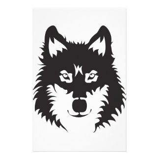 Wild Wolf Face Silhouette Stationery