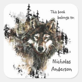 Wild Wolf Mountain Art Custom Bookplate art