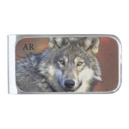 Wild Wolf Silver Finish Money Clip