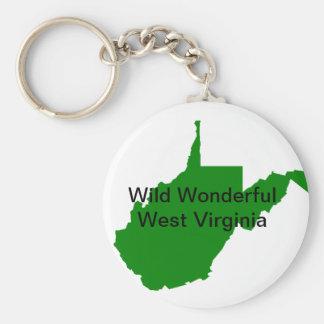 Wild Wonderful West Virginia Basic Round Button Keychain