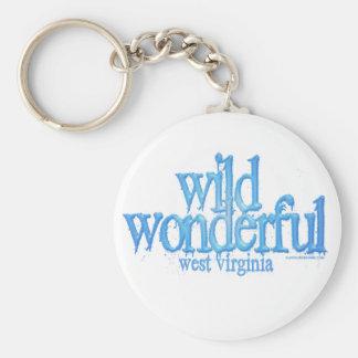 Wild Wonderful West Virginia-Blue Basic Round Button Keychain