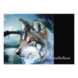wild woodland moonlight wolf art invite