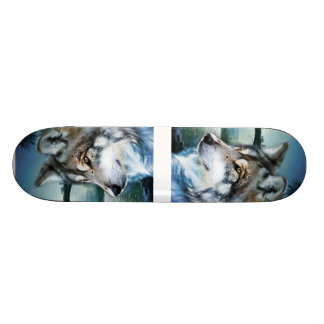 wild woodland moonlight  wolf skateboard