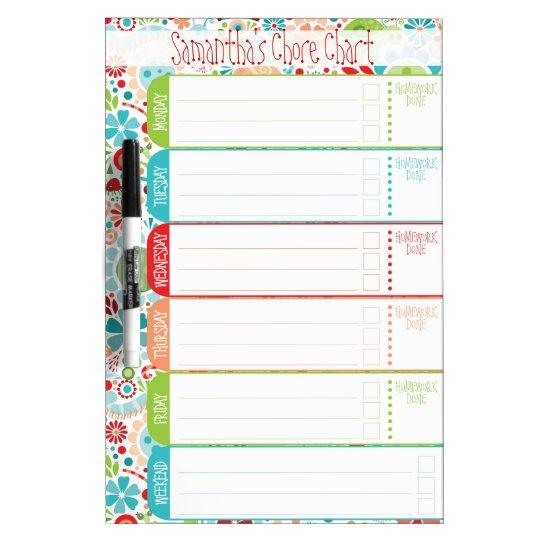 wild world kids to do list schedule chores dry erase board
