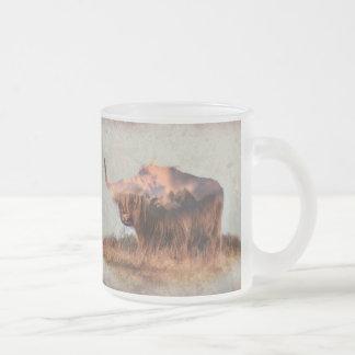 Wild yak - Yak nepal - double exposure art - ox Frosted Glass Coffee Mug
