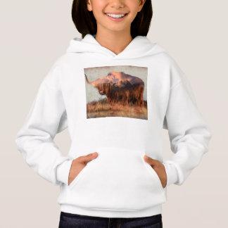 Wild yak - Yak nepal - double exposure art - ox Hoodie