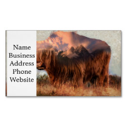 Wild yak - Yak nepal - double exposure art - ox Magnetic Business Card