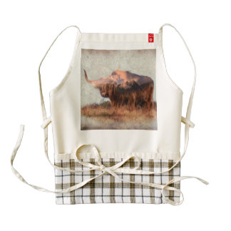 Wild yak - Yak nepal - double exposure art - ox Zazzle HEART Apron