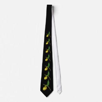 Wild Yellow Orchid Lady Slipper Flower Neck Tie