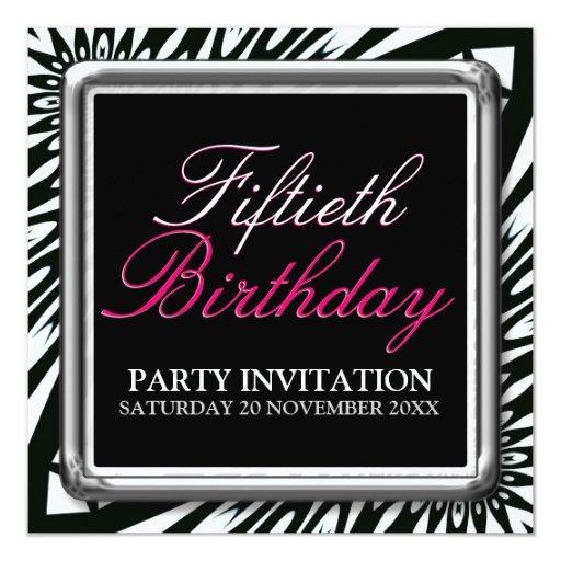 Wild Zebra 50th Birthday Party Invitations