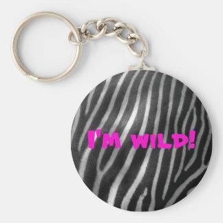 wild zebra background and text basic round button keychain