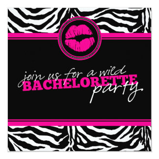 Wild Zebra Fun Bachelorette Party Invitation