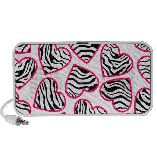 Wild zebra hearts doodle speakers