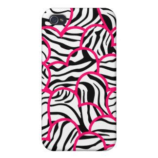 Wild zebra hearts  cases for iPhone 4