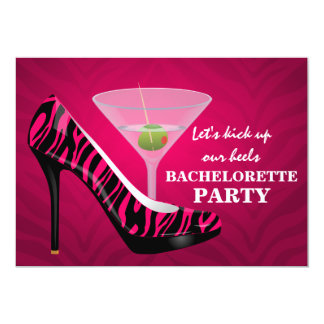 Wild Zebra High Heel Shoes Bachelorette Party 5x7 Paper Invitation Card