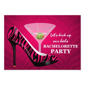 Wild Zebra High Heel Shoes Bachelorette Party Card