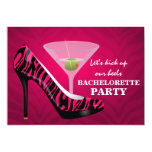 Wild Zebra High Heel Shoes Bachelorette Party Personalized Invitations