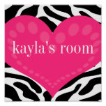 Wild Zebra & Pink Heart Personalized Wall Poster