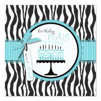 Wild Zebra Print & Birthday Cake Blue Custom Announcements