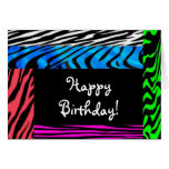 wild zebra print happy birthday card